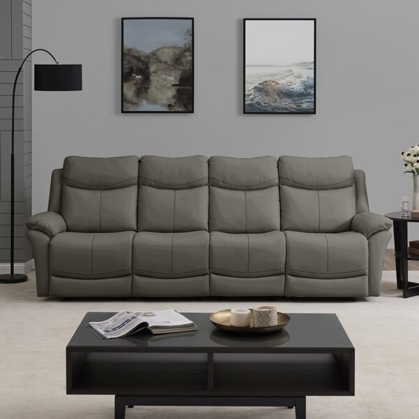 Winter Shop Jabari 4 Seat Wall Hugger Home Theater Sofa by Red Barrel Studio by Red Barrel Studio