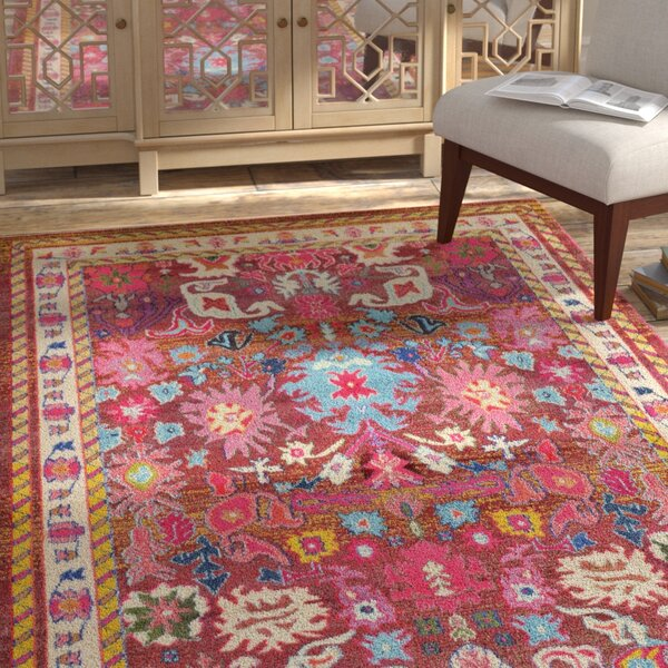 Iris Pink Area Rug by Bungalow Rose