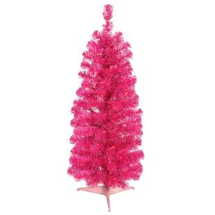 2 Hot Pink Pine Trees Artificial Christmas Tree With 35 Incandescent Single Colored Lights Stand