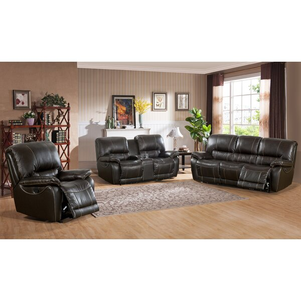 Walborn Reclining 3 Piece Leather Living Room Set by Canora Grey