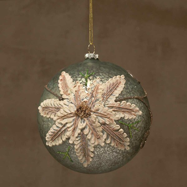 Embossed Poinsettia Ball Ornament by ZiaBella