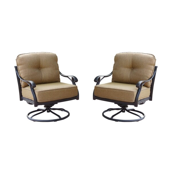 Lincolnville Rocker Swivel Recliner Patio Chair with Cushions (Set of 2) by Fleur De Lis Living