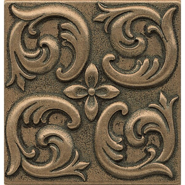 Ambiance Insert Wave 4 x 4 Resin Tile in Bronze by Bedrosians