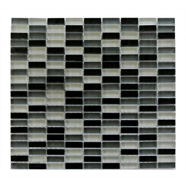 Epiphany 0.5 x 1.25 Glass Mosaic Tile in Black/Gray/White Mix by Abolos