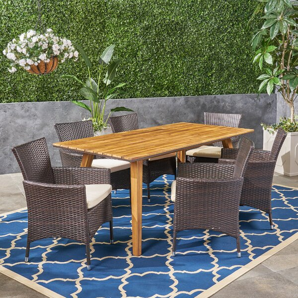 Sunglow 7 Piece Teak Dining Set with Cushions by Bungalow Rose