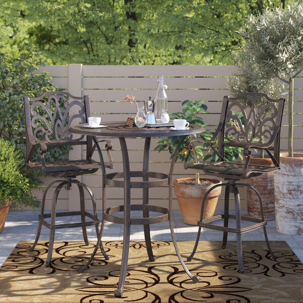 Burrowes 3 Piece Bar Height Dining Set by Fleur De Lis Living