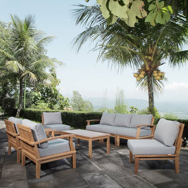 Elaina 8 Piece Teak Sectional Seating Group with Cushions by Beachcrest Home