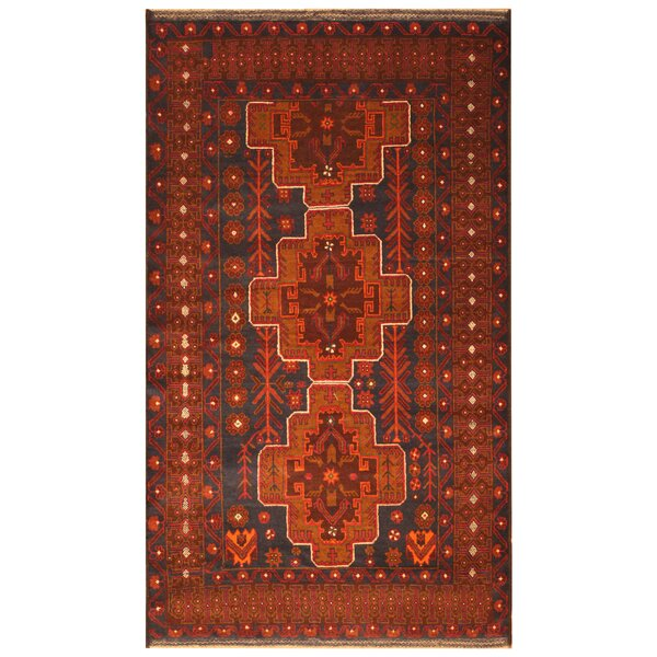One-of-a-Kind Prentice Hand-Woven Wool Navy/Red Area Rug by Isabelline