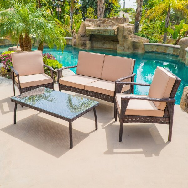 Stockwood 4 Piece Rattan Conversation Set with Sun