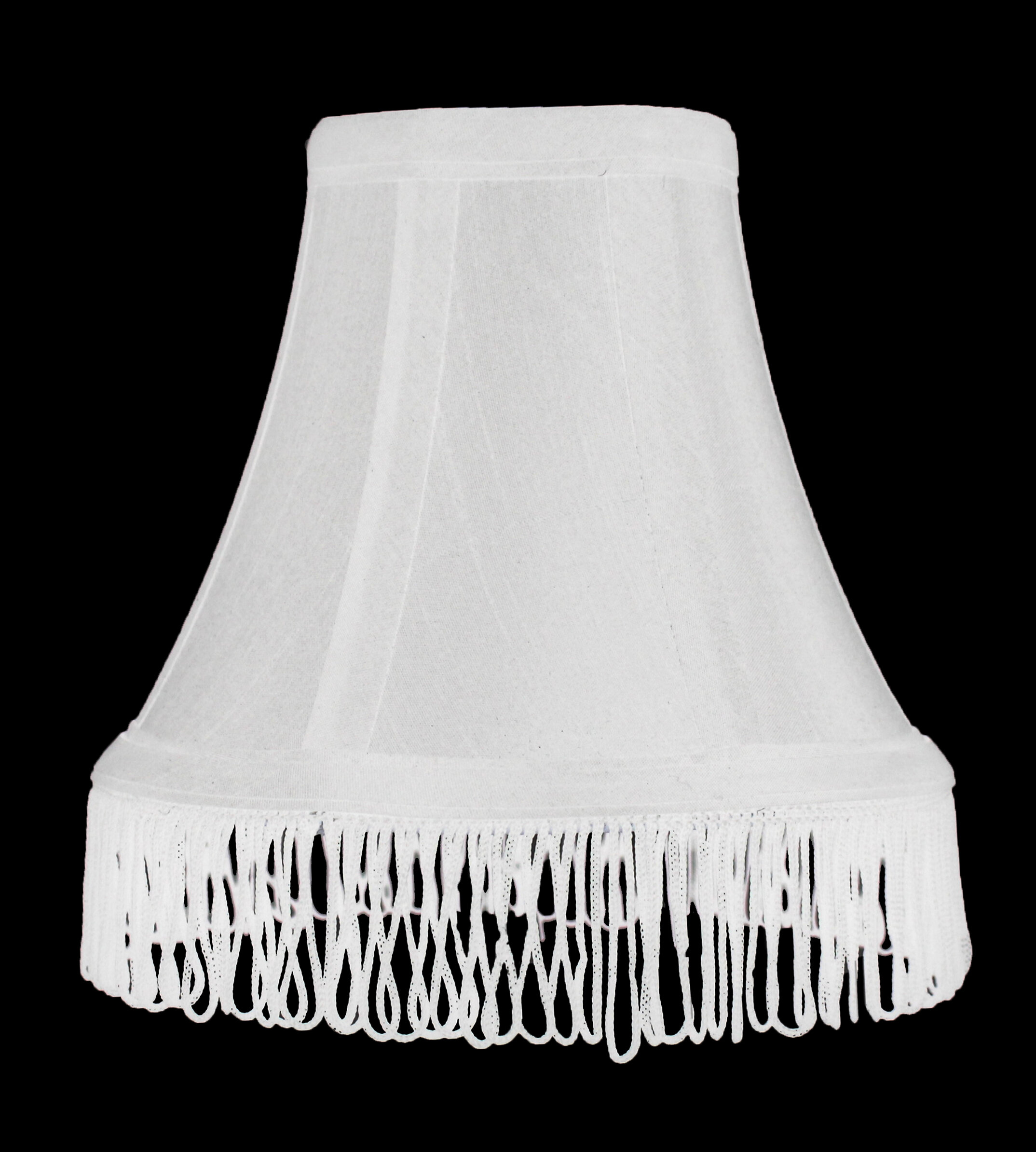 """Bell Shade Dangling Beads Beige Fabric Lamp Shade Small Bulb 5/""""tall 3/""""top 6/""""base"""