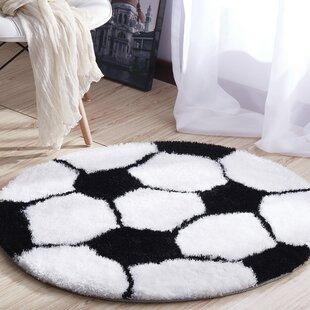 Price Check Agawam Soft Shaggy Hand-Tufted White/Black Area Rug ByZoomie Kids