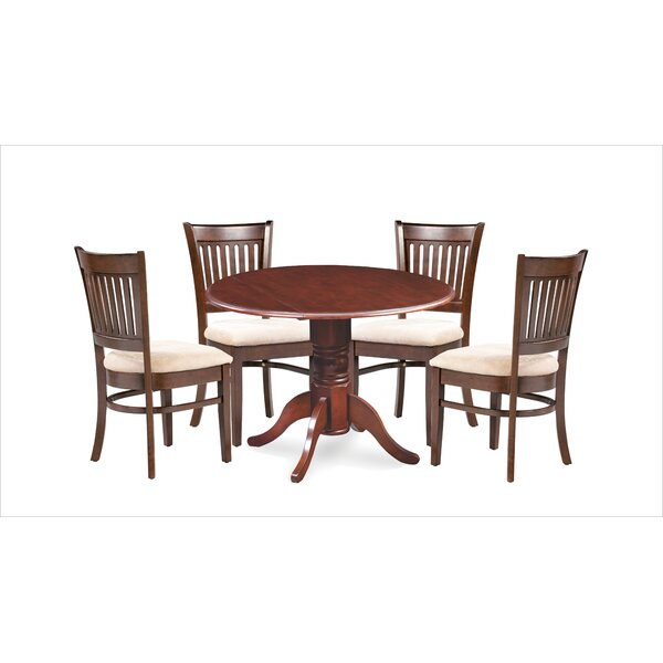 Miriam 5 Piece Drop Leaf Solid Wood Dining Set by Breakwater Bay