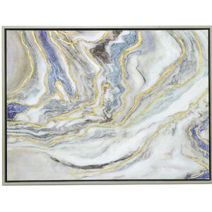'Blue and Gold Abstract Waves' Framed Painting Print by Three Hands Co.