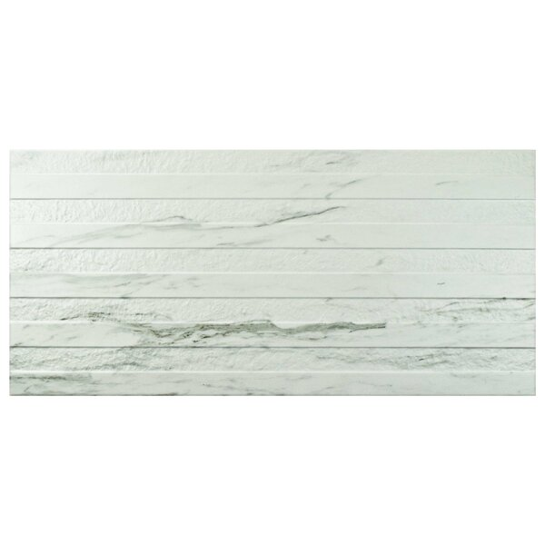Marbre Carrara 12.88 x 25.63 Porcelain Field Tile in White by EliteTile