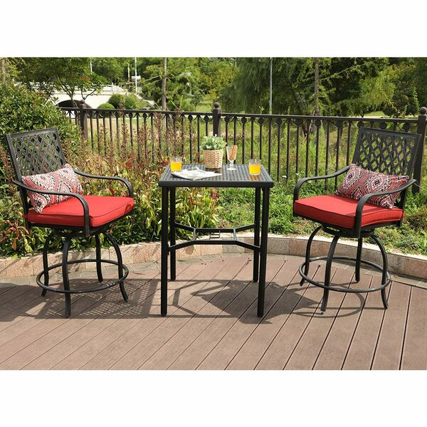 Stockwell Outdoor 3 Piece Bistro Set with Cushions by Charlton Home