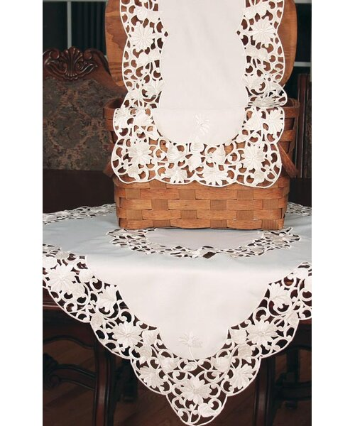 Daisy Lace Embroidered Cutwork Table Runner by Xia Home Fashions