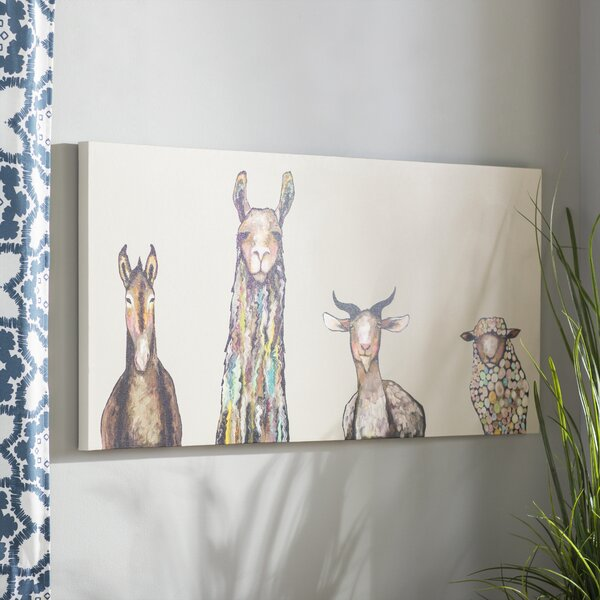 Donkey Llama Goat Sheep Acrylic Painting Print On Canvas In Cream By Mercury Row.