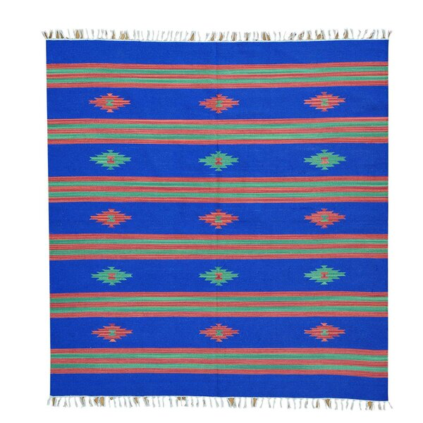 One-of-a-Kind Towler Flat Weave Killim Hand-Knotted Cotton Blue Area Rug by Millwood Pines