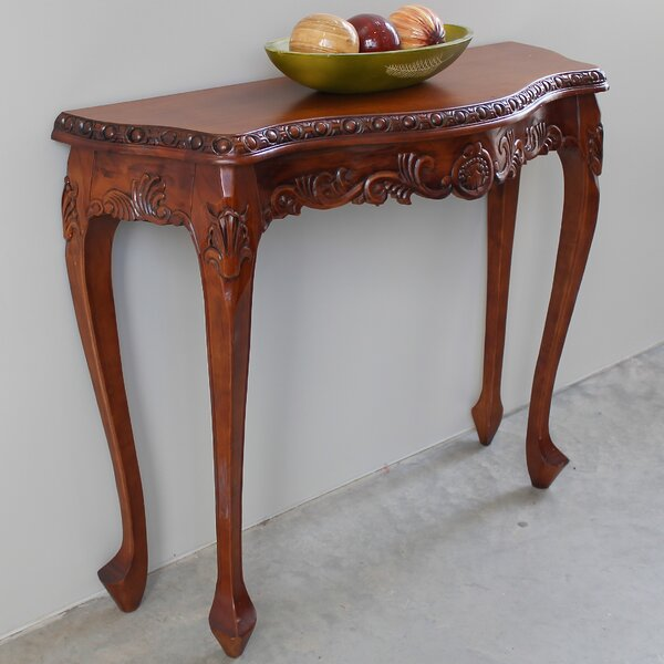 Review Wilder Hand Carved Wood Console Table