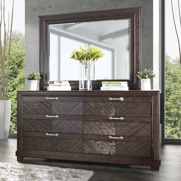 Gilstrap 6 Drawer Double Dresser With Mirror By Wrought Studio by Wrought Studio 2020 Sale