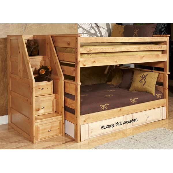 Aldeline Full Over Full Bunk Bed with Stairway Chest by Harriet Bee