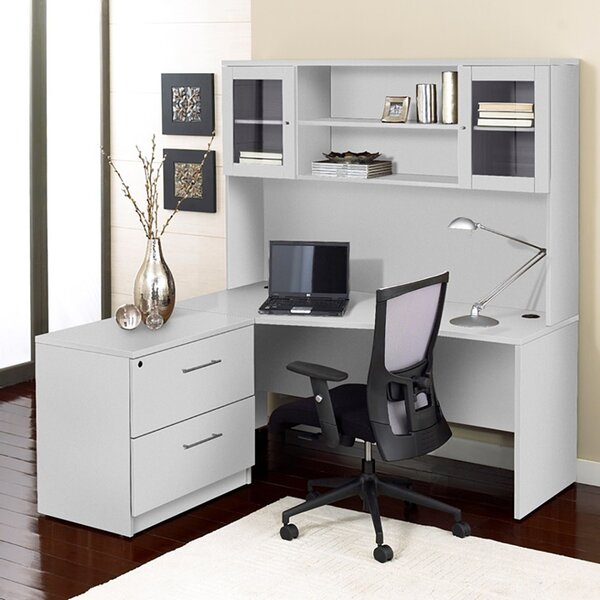Corner Executive Desk with Hutch by Haaken Furniture
