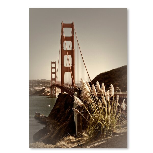 Vintage Style Golden Gate Bridge Photographic Print by East Urban Home
