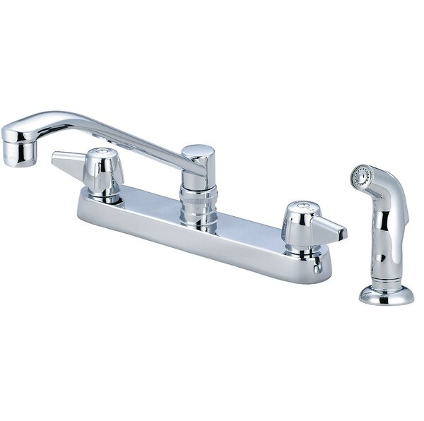 Double Handle Kitchen Faucet with Side Spray by Central Brass