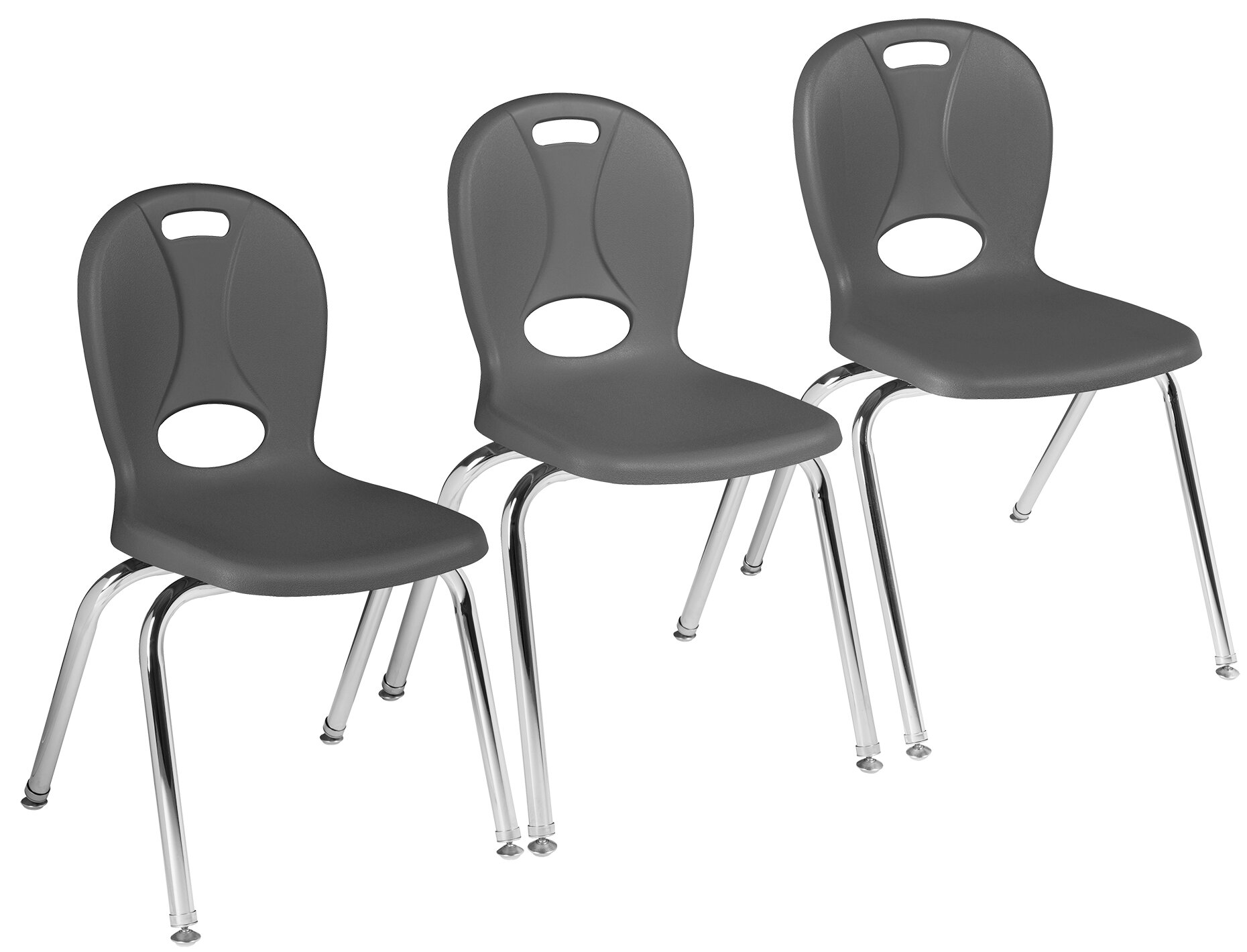 Navy//Silver Set of 4 Lorell Classroom Student Stack Chairs 18H Seat