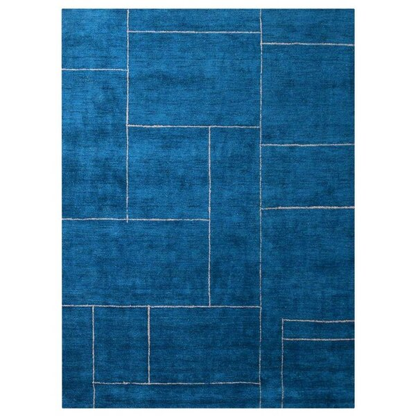 Savanah Gabbeh Hand-Knotted Silk Blue Area Rug by Orren Ellis