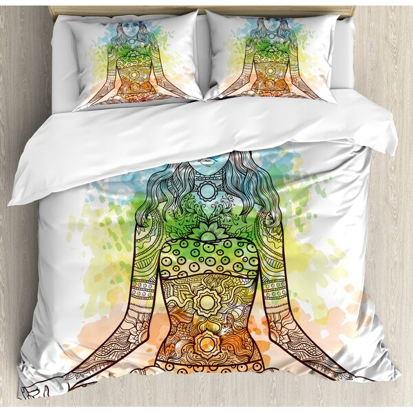 Contemporary Yoga Tattoo Mehndi Style Vintage Ornate Woman Figure in Lotus Pose Chakra Aura Watercolor Duvet Set by East Urban Home