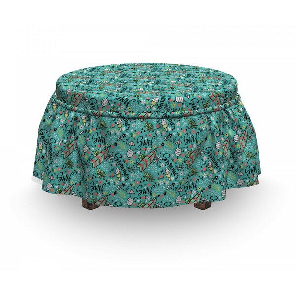 Surfboard Tropic Floral Design 2 Piece Box Cushion Ottoman Slipcover Set By East Urban Home