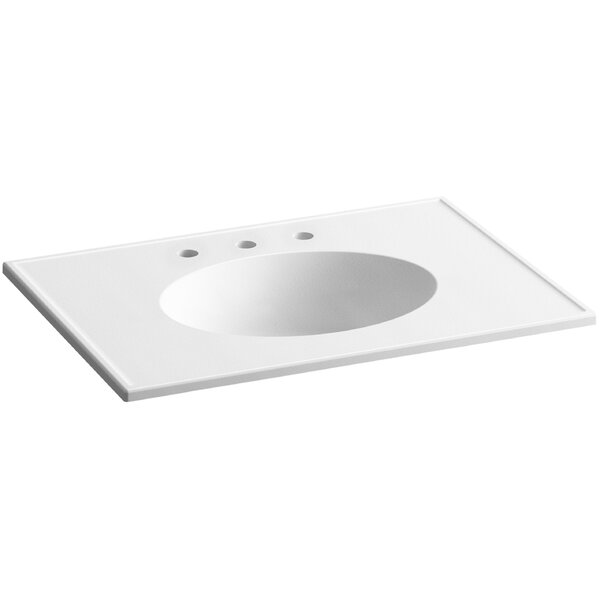 Ceramic Impressions Rectangular Drop-In Bathroom Sink with Overflow by Kohler
