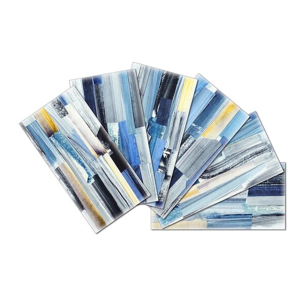 Crystal Skin 3 x 6 Glass Subway Tile in Blue by SkinnyTile