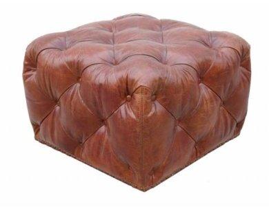Paris Club Leather Ottoman by Pasargad