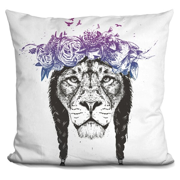 King of Lions Throw Pillow by East Urban Home