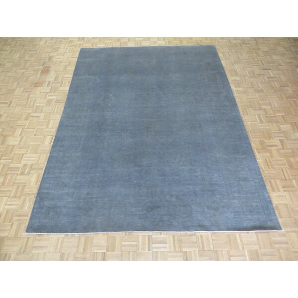 One-of-a-Kind Baltic Over-dyed Oushak Hand-Knotted Wool Silver Blue Area Rug by Ophelia & Co.