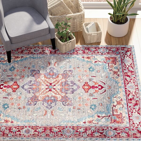 Burgan Red Area Rug by Mercury Row