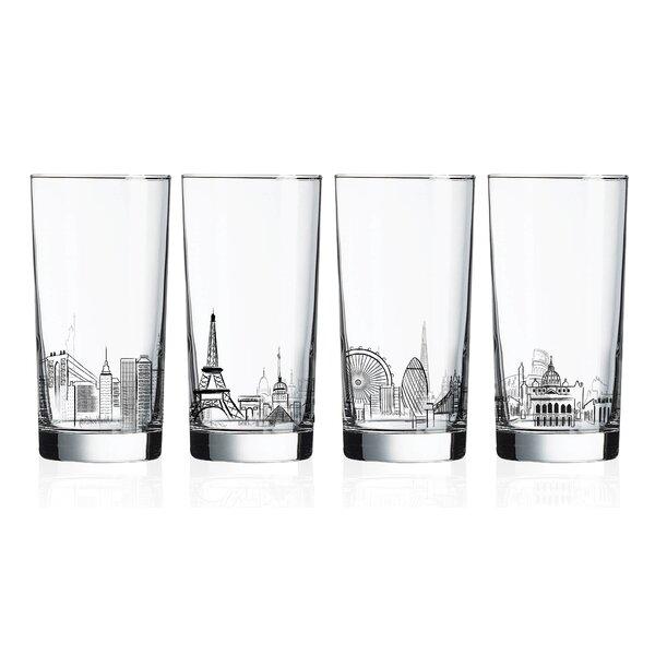 Dinardo Skylines 4-Piece 15.25 oz. Glass Highball Glasses Set (Set of 4) by Ebern Designs