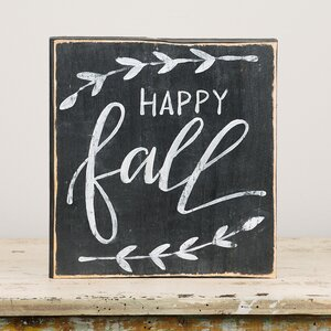 'Happy Fall' Textual Art on Wood by Glory Haus