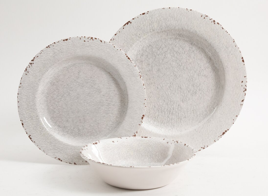 Cogswell Melamine Mauna Crackle 12-Piece Dinnerware Set, Service for 4