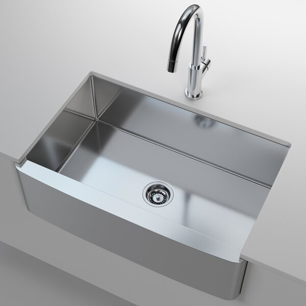 Stainless Steel 33 L x 21 W Farmhouse/Apron Kitchen Sink with Drain Assembly and Basket Strainer