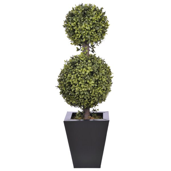 Artificial Double Ball Floor Boxwood Topiary in Planter by Mercury Row