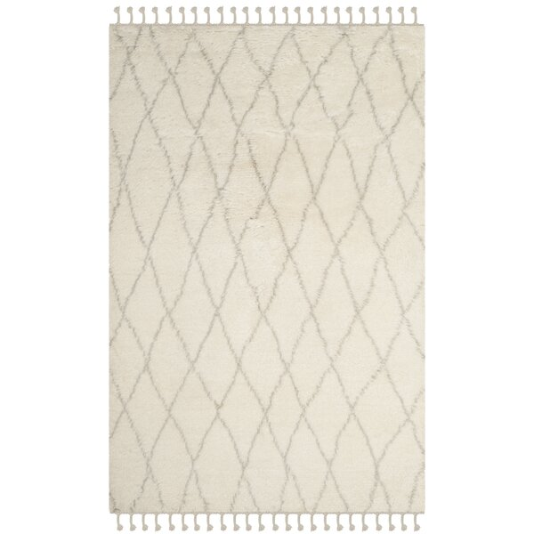Cosima Hand-Knotted Ivory/Gray Area Rug by Bungalow Rose