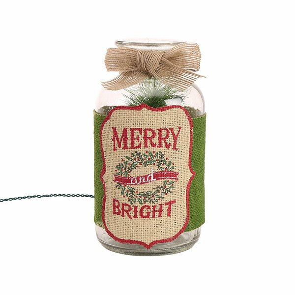 Burlap Merry Bright Glass Mason Jar Light Lamp by Glitzhome