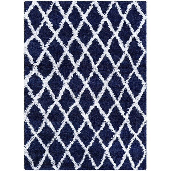 Cracraft Navy Blue/White Area Rug by Wrought Studio
