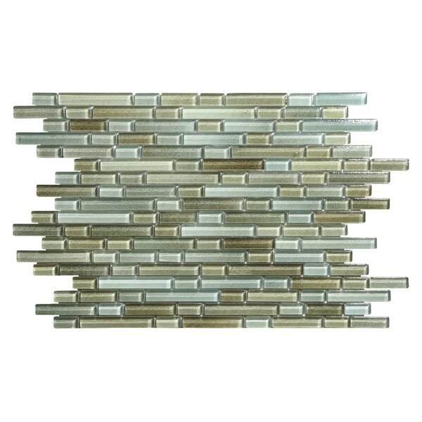 Hi-Fi Offset Linear Random Sized Glass Mosaic Tile in Brown/Green/Beige by Kellani