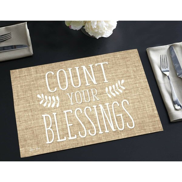 Sigourney Disposable Paper Count Your Blessings 18 Placemat (Set of 24) by Gracie Oaks