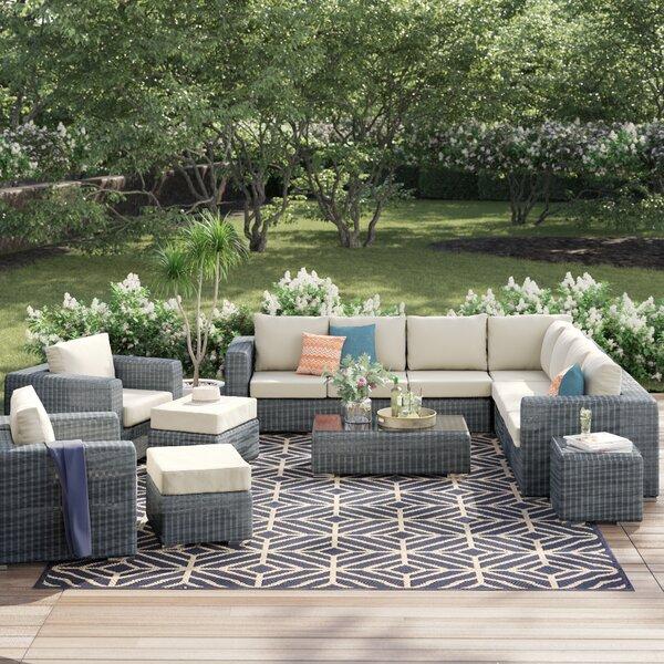 Keiran 11 Piece Deep Sunbrella Sectional Set with Cushions by Brayden Studio