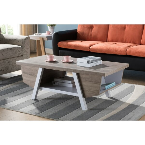 Holcomb Wooden Coffee Table with Storage by Wrought Studio